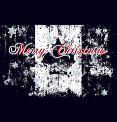 merry christmas lettering on a canada flag vector image
