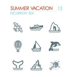 Excursion sea icon set summer vacation vector