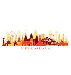 Southeast asia landmarks skyline shape vector