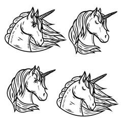 Set of unicorn heads isolated on white background vector