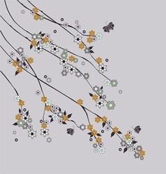 flowering branch with butterflies vector image