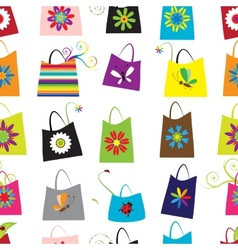 Floral shopping bags seamless pattern for your vector image