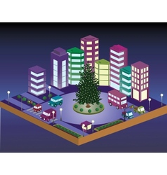 3D Christmas city vector image vector image