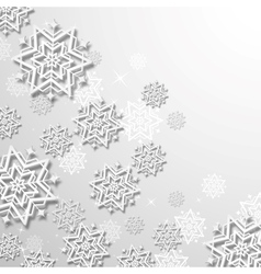 3d Snowflakes in Christmas background vector image