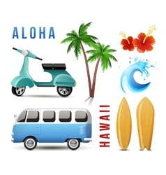 Surfing set in retro style vector