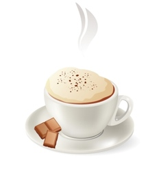 Cup of hot cappuccino vector