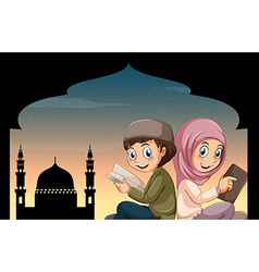 Boy and girl reading bible at mosque vector