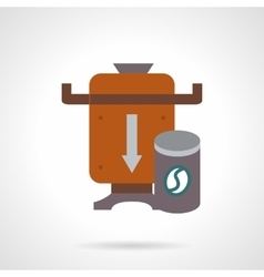 Brown coffee beans mill flat color icon vector