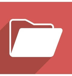 Open folder flat long shadow square icon vector