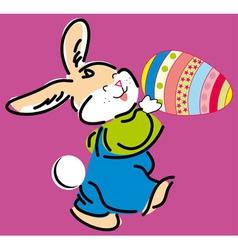 Cute easter bunny holding e vector