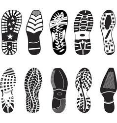 a collection of various highly detailed shoe track vector image vector image