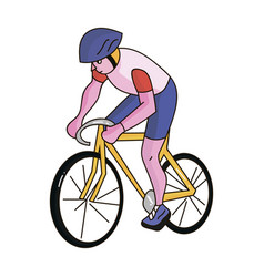 an athlete with a helmet riding his bike on the vector image
