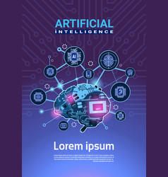 Artificial intelligence banner with cyber brain vector