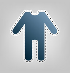 Baby clothes sign blue icon with outline vector