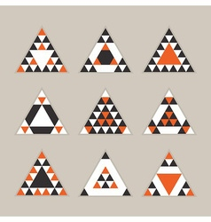 black orange geometric tribal triangle icons set vector image vector image