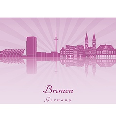 Bremen skyline in radiant orchid vector image
