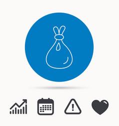 Burlap sack icon textile bag sign vector