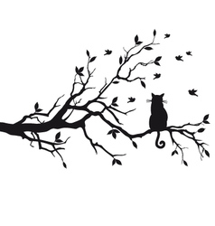 cat sitting on tree branch vector image vector image