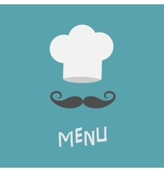 Chef hat and big mustache menu card restaurant vector