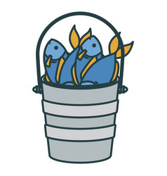 Colorful silhouette bucket full fish with thick vector