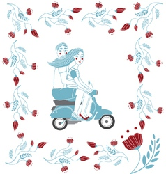 Couple on vespa vector