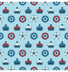 crowns and roses pattern vector image vector image