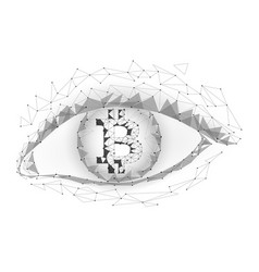 crypto currency bitcoin in eye net banking mining vector image