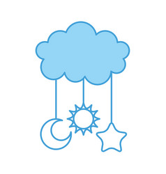 cute cloud and star moon sun baby shower vector image