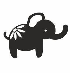 Cute elephant papercutting style silhouette vector