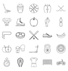 Exercise icons set outline style vector