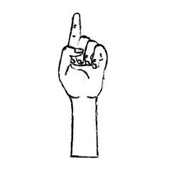 Figure cute hand with fingerprint up symbol vector