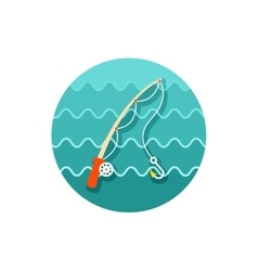 Fishing rod icon summer vacation vector