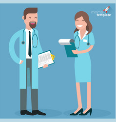 flat design doctor and nurse vector image vector image