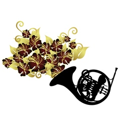 French horn instrument vector