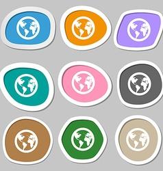 Globe icon symbols multicolored paper stickers vector