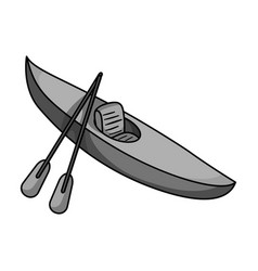 green kayak for downhill on a mountain river vector image vector image