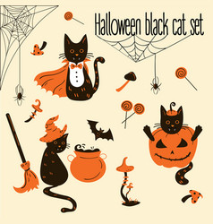 halloween black cats trick or treat objects vector image