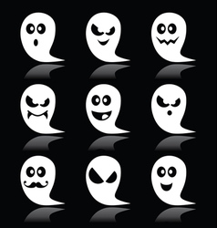 Halloween ghost icons set on black vector image vector image