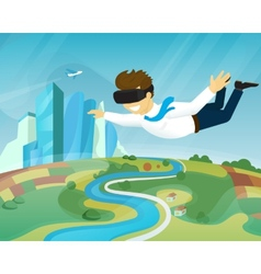 Happy guy is flying in virtual reality vector