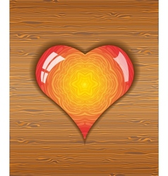 Heart on wood texture vector image