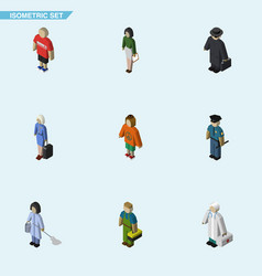 Isometric human set of plumber lady hostess and vector