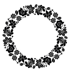 Kalocsai black embroidery in circle - hungarian vector