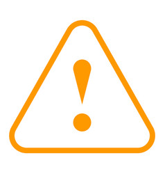 Orange triangle exclamation mark icon warning sign vector