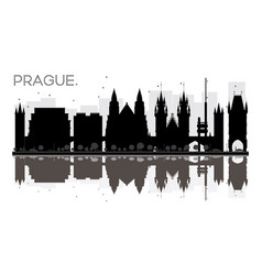 prague city skyline black and white silhouette vector image