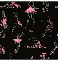 Sketch of girls ballerina seamless pattern vector