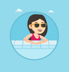 smiling young woman in swimming pool vector image