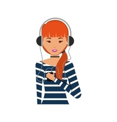 Young woman with headset character vector