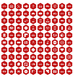 100 location icons hexagon red vector