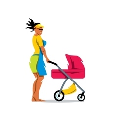 Mother with baby carriage cartoon vector