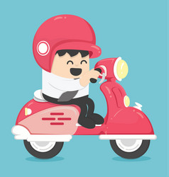 Happy businessman with scooter vector
